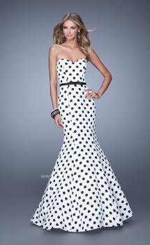 Picture of: Polka Dot Mermaid Prom Dress with Bow Belt in Print, Style: 21180, Main Picture