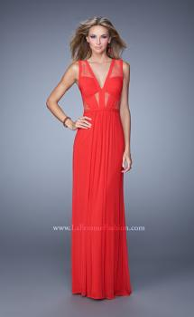 Picture of: V Neck Jersey Gown with Ruched Trim and Sheer Lace in Red, Style: 21188, Main Picture