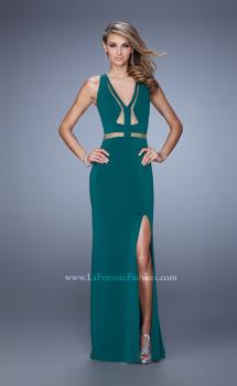 Picture of: Fitted Geo Design Prom Dress with V Neck and Side Slit in Green, Style: 21190, Main Picture