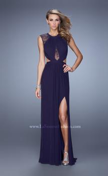 Picture of: Ruched Bodice Prom Gown with Open Diamond Back in Plum, Style: 21191, Main Picture