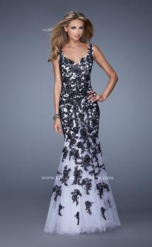 Picture of: Long Mermaid Dress with Lace Appliques and V Neckline in White Black, Style: 21192, Main Picture