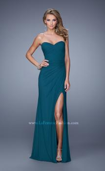Picture of: Modern Long Prom Dress with Ruched Bodice and Slit in Green, Style: 21193, Main Picture