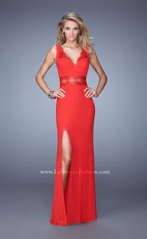 Picture of: Lace Trim Prom Gown with V Neckline and Sheer Detail in Red, Style: 21195, Main Picture