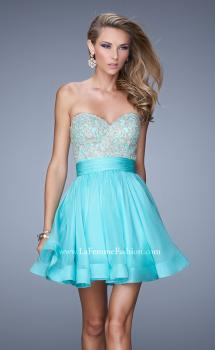 Picture of: Chiffon Cocktail Dress with Beaded Embroidery and Belt in Aqua, Style: 21202, Main Picture