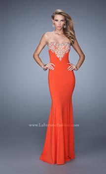 Picture of: Long Jersey Prom Dress with Flared Skirt and Stones in Red, Style: 21204, Main Picture