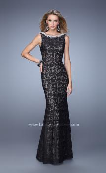 Picture of: Boat Neck Lace Dress with Lace Bow and Rhinestones in Black, Style: 21206, Main Picture