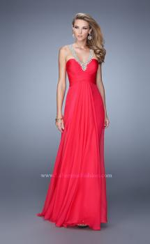 Picture of: Chiffon Low V Prom Dress with Embroidered Accents, Style: 21207, Main Picture