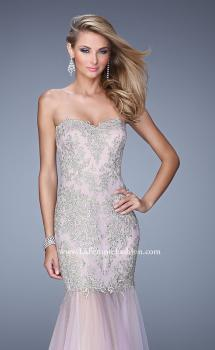 Picture of: Embroidered Mermaid Dress with Sheer Tulle Skirt in Pink, Style: 21216, Main Picture