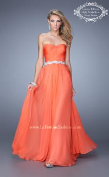 Picture of: Long Chiffon Prom Dress with Pearl and Rhinestone Belt, Style: 21218, Main Picture