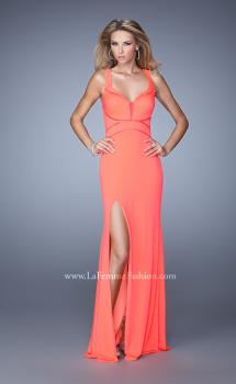 Picture of: Side Slit Jersey Prom Dress with Mesh Detailing in Coral, Style: 21220, Main Picture