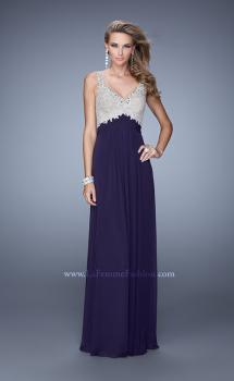 Picture of: Glam V Neckline Prom Dress with Metallic Embroidery in Plum, Style: 21223, Main Picture