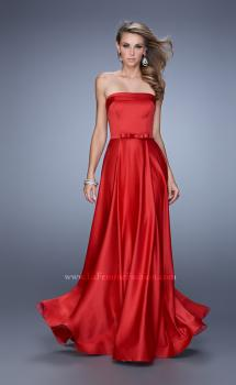 Picture of: Elegant Satin Prom Gown with Bow Belt and Pockets in Red, Style: 21225, Main Picture