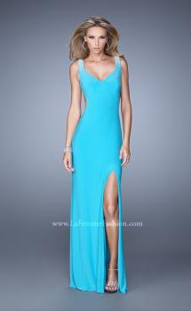 Picture of: Sultry Sleeveless Dress with Stones and Open Back in Aqua, Style: 21227, Main Picture