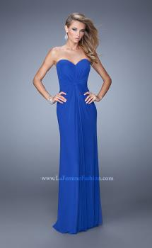 Picture of: Jersey Prom Dress with Twisted X Back Straps in Blue, Style: 21230, Main Picture