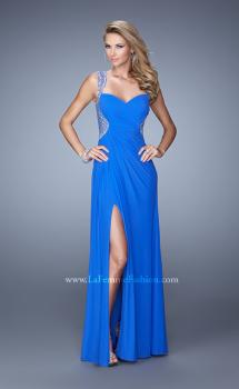 Picture of: Embellished Jersey Dress with Gathered Bodice in Blue, Style: 21231, Main Picture