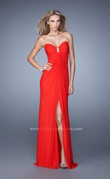 Picture of: Chic Prom Dress with Ruching and Center Slit in Red, Style: 21233, Main Picture