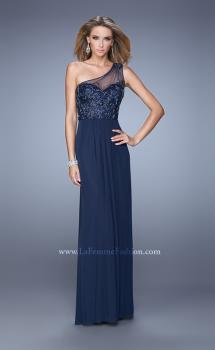 Picture of: One Shoulder Prom Dress with Net Overlay and Beads in Navy, Style: 21239, Main Picture
