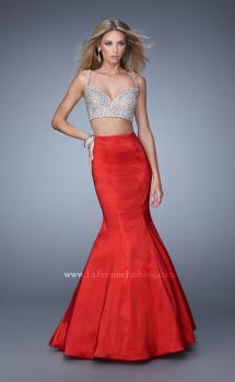 Picture of: Heavily Beaded Two Piece Dress with Mermaid Style Train in Red, Style: 21243, Main Picture