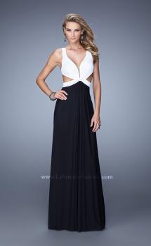 Picture of: Two Tone Long Prom Dress with Cut Outs and Sheer Detail in Black and White, Style: 21245, Main Picture