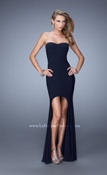 Picture of: High-low Dress with Open Back and Sweetheart Neck in Navy, Style: 21251, Main Picture