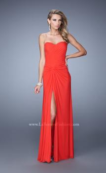 Picture of: Long Jersey Prom Dress with Gathered Knot Detail in Orange, Style: 21254, Main Picture