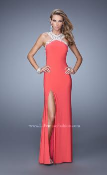 Picture of: Sheer Halter Prom Dress with Metallic Embroidery, Style: 21255, Main Picture