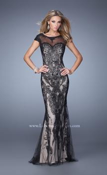 Picture of: Cap Sleeve Long Prom Dress with Embroidery and Beads, Style: 21259, Main Picture
