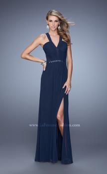 Picture of: Ruched Bodice V Neckline Prom Dress with Beaded Belt in Navy, Style: 21260, Main Picture