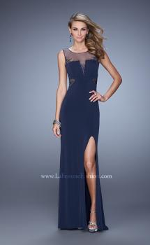 Picture of: V Neckline Jersey Prom Gown with Cut Outs and Beading in Navy, Style: 21266, Main Picture