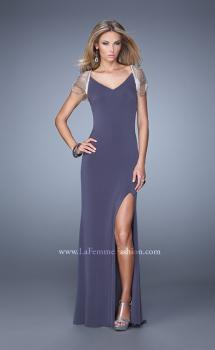 Picture of: Sheer Cap Sleeve Prom Dress with Multi Tonal Beading, Style: 21268, Main Picture