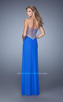 Picture of: Gathered Bodice Prom Gown with Sheer Net Embellishment in Blue, Style: 21270, Main Picture