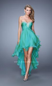 Picture of: High Low Prom Dress with Ruching and Criss Cross Straps in Green, Style: 21274, Main Picture