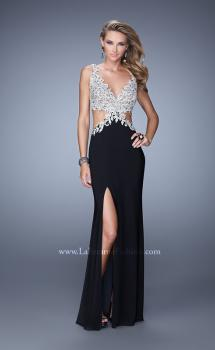 Picture of: Sultry Jersey Prom Dress with Open Back and Cut Outs in Black, Style: 21281, Main Picture