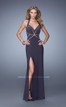 Picture of: Halter Long Jersey Prom Dress with Sheet Cut Outs in Gray, Style: 21282, Main Picture