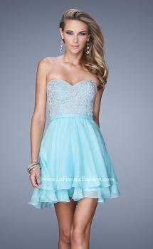Picture of: Chiffon Cocktail Dress with Tiered Skirt and Lace Overlay in Blue, Style: 21284, Main Picture