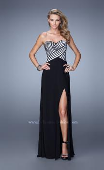 Picture of: Unique Jersey Prom Gown with Piping and Side Leg Slit in Black, Style: 21290, Main Picture