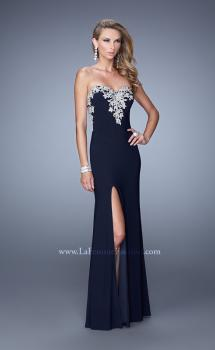 Picture of: Long Jersey Prom Dress with Metallic Embroidery and Slit in Navy, Style: 21292, Main Picture