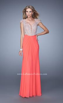 Picture of: Net Jersey Prom Dress with Plunging V Neckline in Coral, Style: 21294, Main Picture