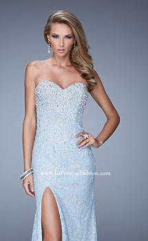 Picture of: Chic Lace Prom Gown with Open Back, Pearls, and Stones, Style: 21295, Main Picture