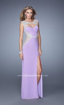 Picture of: Long Jersey Dress with Sheer Detail and Side Leg Slit, Style: 21296, Main Picture