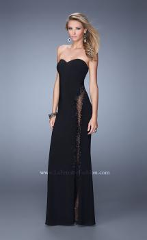 Picture of: Embellished Jersey Dress with Cut Outs and Sheet Netting in Black, Style: 21299, Main Picture