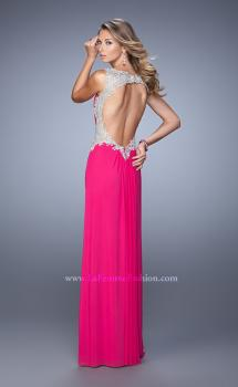 Picture of: Embroidered Long Jersey Prom Dress with Gathered Bodice, Style: 21301, Main Picture