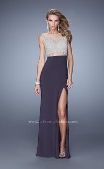 Picture of: Embellished Prom Dress with Stones and Keyhole Back in Gray, Style: 21303, Main Picture