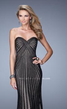 Picture of: Jeweled Long Prom Gown with Open Back Detail in Black and Nude, Style: 21308, Main Picture