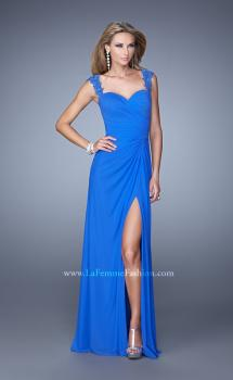Picture of: Sweetheart Neck Prom Gown with Beaded Lace Detail in Blue, Style: 21310, Main Picture
