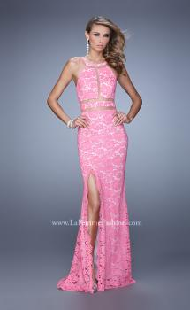 Picture of: Halter Lace Prom Dress with Low Scooped Back in Pink, Style: 21314, Main Picture