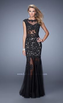 Picture of: Long Gown with Sheer Neck, Tulle Skirt, and Cap Sleeves, Style: 21318, Main Picture