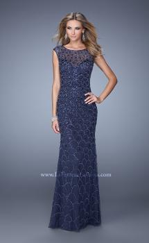 Picture of: Jersey Prom Dress with Sheer Net Overlay and Beads, Style: 21325, Main Picture