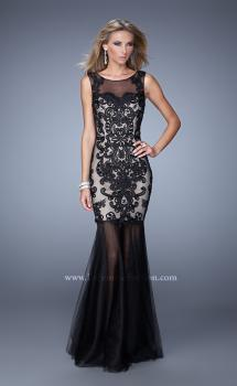 Picture of: Mermaid Gown with Sheer Neckline and Black Jewels, Style: 21328, Main Picture