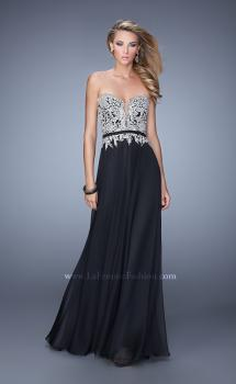 Picture of: Long Chiffon Embroidered Prom Dress with Belt, Style: 21334, Main Picture